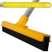 Yellow Professional Hard Floor Cleaning Squeegee & Strong Alloy Handle For Tiles, Concrete, Wood And Marble.
