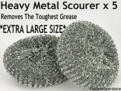 5 x HEAVY DUTYMETAL SCOURERS EXTRA LARGE. TOUGH GREASE ALIMINIUIM SCRUBBER METAL SCOURING PAD STEEL WOOL UTENSIL CLEANER METAL GALVANISED SCOURER PADS CATERING ESSENTIAL