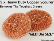 5 x HEAVY DUTYMETAL COPPER SCOURERS MEDIUM. TOUGH GREASE COPPER SCRUBBER METAL SCOURING PAD COPPER WOOL UTENSIL CLEANER METAL GALVANISED SCOURER PADS CATERING ESSENTIAL