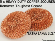 5 x HEAVY DUTYMETAL COPPER SCOURERS EXTRA LARGE. TOUGH GREASE COPPER SCRUBBER METAL SCOURING PAD COPPER WOOL UTENSIL CLEANER METAL GALVANISED SCOURER PADS CATERING ESSENTIAL