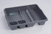 High Grade Extra Large Plastic Dish Drainer Plate and Cutlery Rack in Silver