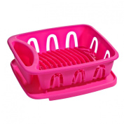 Bandeja Dish Drainer Made of Plastic Available in Hot Pink Colour With Removable Tray