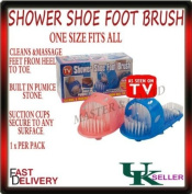 Shower Feet Foot Cleaner Scrubber Washer Bath Brush with Built-In Pumice