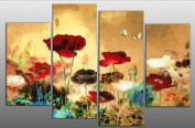 Large Chinese Floral Flowers Canvas artwork 4 pieces multi panel split canvas completely ready to hang , hanging template included for easy hanging, UK company 100cm width 70cm height