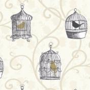 Gold / Cream - 417401 - Skylark - Bird Cage Trail - Arthouse Opera Wallpaper