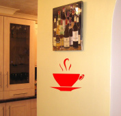 Kitchen Decal Coffee Cup Wall Art Vinyl Sticker in Red - By SCA ART