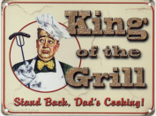 KING OF THE GRILL BBQ STAND BACK DAD'S COOKING METAL WALL ADVERTISING WALL SIGN