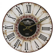 Wall Clock Chic 'n' Shabby Vintage Antique Distressed Style Clock with Roman Numerals - Ornate Gold Colour Hand Dials