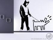 Banksy Hoodie man with a dog 'Haring Dog' Wall Sticker 60x60cm, Facing Right