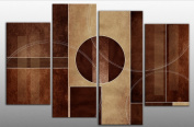"""Large Brown Beige Abstract Canvas artwork Picture 4 pieces multi panel split canvas completely ready to hang , hanging template included for easy hanging, UK company 40"""" width 27"""" height is the wall space required"""