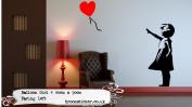 Banksy Balloon Girl Wall Sticker 40x90cm, Facing Left