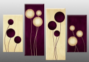 """Large Plum Cream Abstract Canvas artwork Picture 4 pieces multi panel split canvas completely ready to hang , hanging template included for easy hanging, UK company 40"""" width 27"""" height wall space required"""