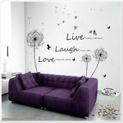 Walplus Huge Dandelion/ Live Laugh Love/ Butterflies Children Wall Stickers Mural Paper