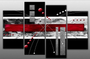 Large Red and Black Abstract Canvas artwork Picture 4 pieces multi panel split canvas completely ready to hang, hanging template included for easy hanging, UK company 100cm width 70cm height