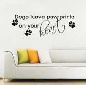 Large dogs leave Paw Prints Wall Sticker Quote Vinyl Decal Mural Art Transfer