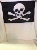Pirate Skull and Crossbow Flag - 30cm x 46cm - Wooden Pole - Ideal for Hastings Pirate Day
