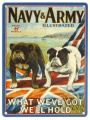 Metal Sign - Navy & Army - Retro metal sign / vintage looking wall sign / nostalgic - British Bulldog - What we've got we'll hold