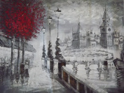 Beautiful Oil Painting On Canvas Black & White Old London 50cm x 60cm By Mary