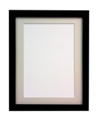 "Frames By Post 25mm wide H7 Black Picture Photo Frame with Ivory Mount 20""x16"" for Pic Size A3"