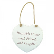 Hanging Shabby Chic Heart Plaque - Bless This House with Friends and Laughter