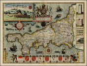 Reproduction Old Antique Map of Cornwall by John Speed 17th c Colour Plan