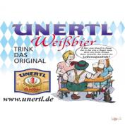Tin Sign Weissbierbrauerei Unertl drinking a beer garden and the original Bavarian flag advertising from Hague 20x30 cm