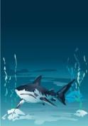 Pema wall sticker multicoloured MF518 shark on sea floor 40 x 28 cm