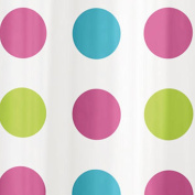 Bright Multi Spot 180 cm Long PEVA Shower Curtain Screen with 12 C Shaped Rings