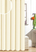 Satin Stripe Soft Polyester Fabric Shower / Bath Curtains With Hooks, Cream