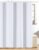 Diamante White Fabric Bathroom Shower Curtain With Hooks 180cm x 180cm