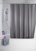 Wenko 20044100 Shower Curtain Textile Anti-Mould 180 x 200 cm Grey