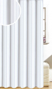 Satin Stripe Soft Polyester Fabric Shower / Bath Curtains With Hooks, White