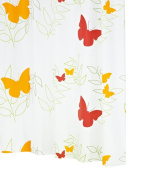 Ridder Butterflies 326040-350 Shower Curtain 180 x 200 cm with Hanging Rings Orange