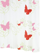 Ridder Butterflies 326060-350 Shower Curtain 180 x 200 cm with Hanging Rings Red