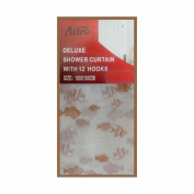 DELUXE HOME MODERN BATHROOM SHOWER CURTAIN TAN FISHES WITH SIZE:180X180