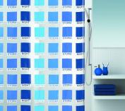 Spirella 10.15208 Shower Curtain 180 x 200 cm Cubist DV Vinyl Blue