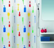 Spirella 10.15234 Shower Curtain DV-PEVA 180 x 200 cm Make-Up Design Multi-Coloured