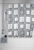 Wenko 20049100 Shower Curtain Textile Anti-Mould 180 x 200 cm Black Squares Motif