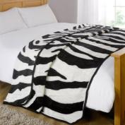 Animal Mink Faux Fur Throw, Zebra, 200 x 240 Cm