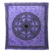 Celtic Mandala Bedspread / Printed Cotton Bed Cover / Indian Bedspreads - Purple