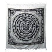 Black & White Elephant Cotton Bedspread / Hand Printed Bed Cover / Indian Bedspreads