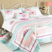Harriet Floral Embroidery Bedspread, Duck Egg Blue/Pink, 240 x 260 Cm