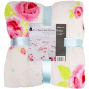 Supersoft Vintage Rose Printed Microfleece Blanket in White