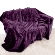 Purple Aubergine Mink Throw Luxury Soft Plush Large (150cm x 200cm- Suitable for Double Size Bed or 2 Seater Sofa) Sofa Bed Runner Bedspread Blanket by Quality Linen and Towels
