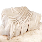 Cream Mink Throw Luxury Soft Plush Large (150cm x 200cm- Suitable for Double Size Bed or 2 Seater Sofa) Sofa Bed Runner Bedspread Blanket by Quality Linen and Towels