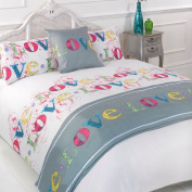 Love Lovely Multi Pink Double Duvet Quilt Bedding Bed in a Bag Cushion Cover Runner
