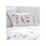 Charlotte Thomas Arabella Floral Embroidery Polycotton Percale Cushion Cover, White, 30 x 50 Cm