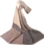 IBENA 150 x 200cm Sorrento Jacquard Throw Blanket with Pattern, Beige / Brown / Ivory