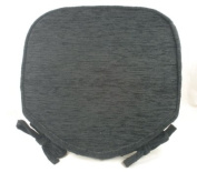 Luxury Black Chenille Seat / Chair Pads / Cushions With Piped Edging