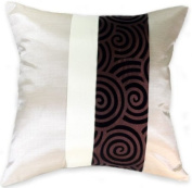 Artiwa 41cm x41cm Ivory & Brown Silk Sofa Couch Decorative Throw Accent Pillow Cover : Spiral